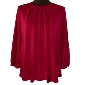 NEW Adrianna Papell Crimson Pleat Neck Blouse M